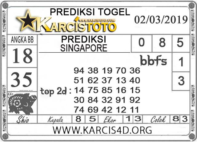 Prediksi Togel SINGAPORE KARCISTOTO 02 MARET 2019