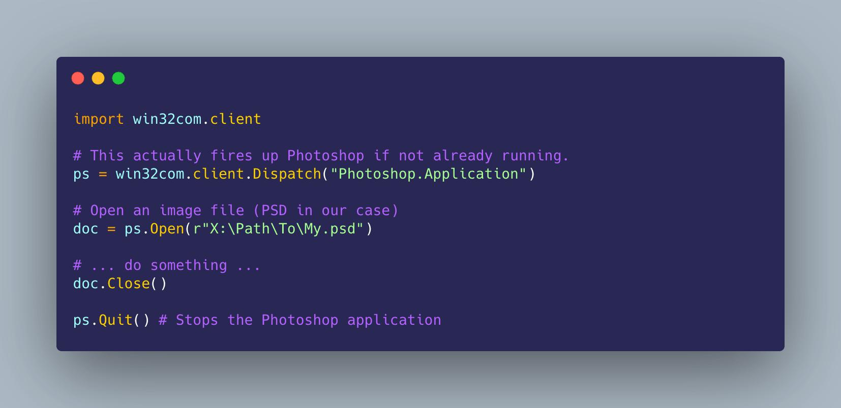 Automating image processing on Photoshop using Python code