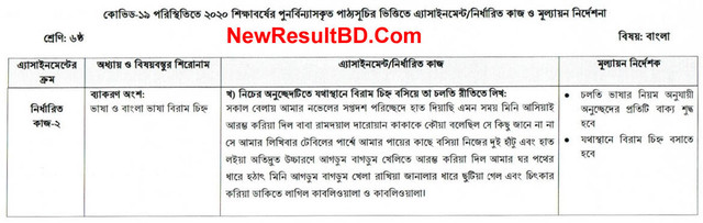 Class 6 Bangla 6th Week Assignment Question & Solution