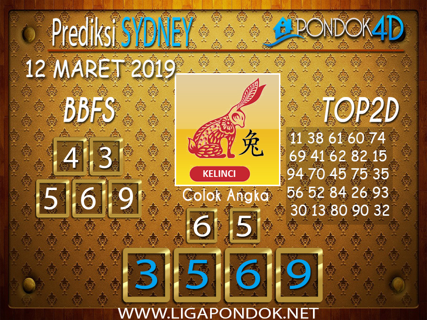 Prediksi Togel SYDNEY  PONDOK4D 12 MARET 2019