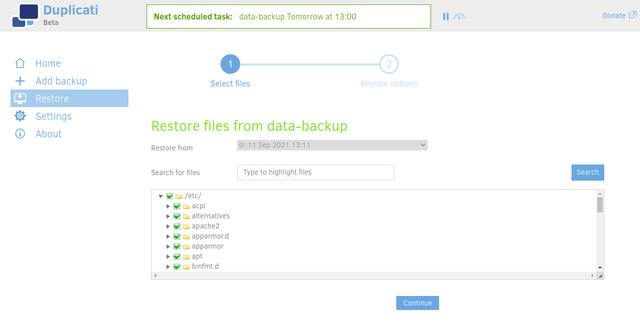 Duplicati highlight all files