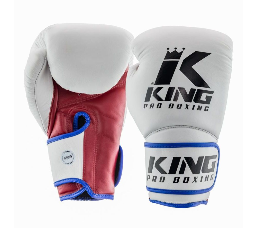 Боксерские перчатки King Pro Boxing Белые - tricolor ( Таиланд )