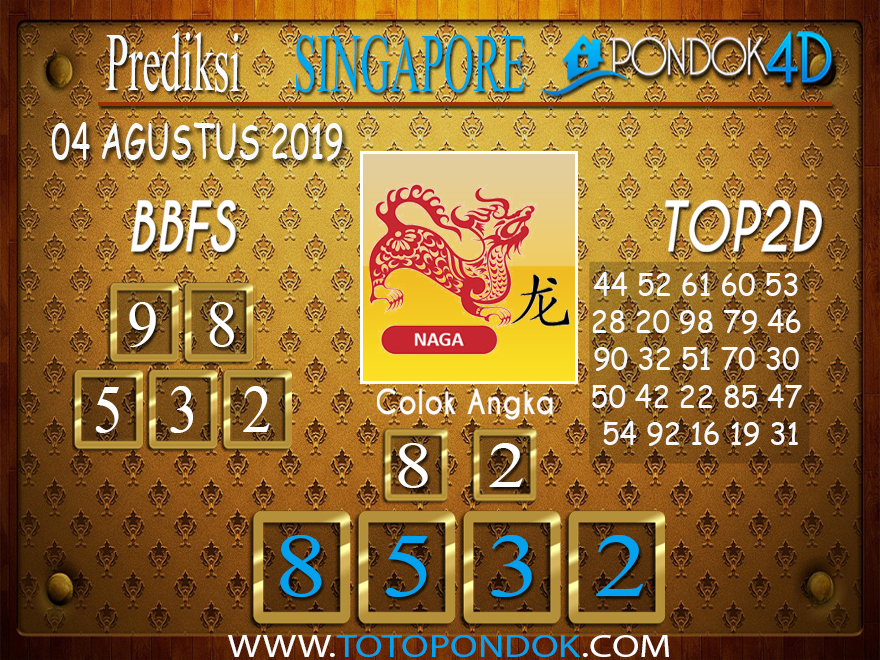 Prediksi Togel SINGAPORE PONDOK4D 04 AGUSTUS 2019