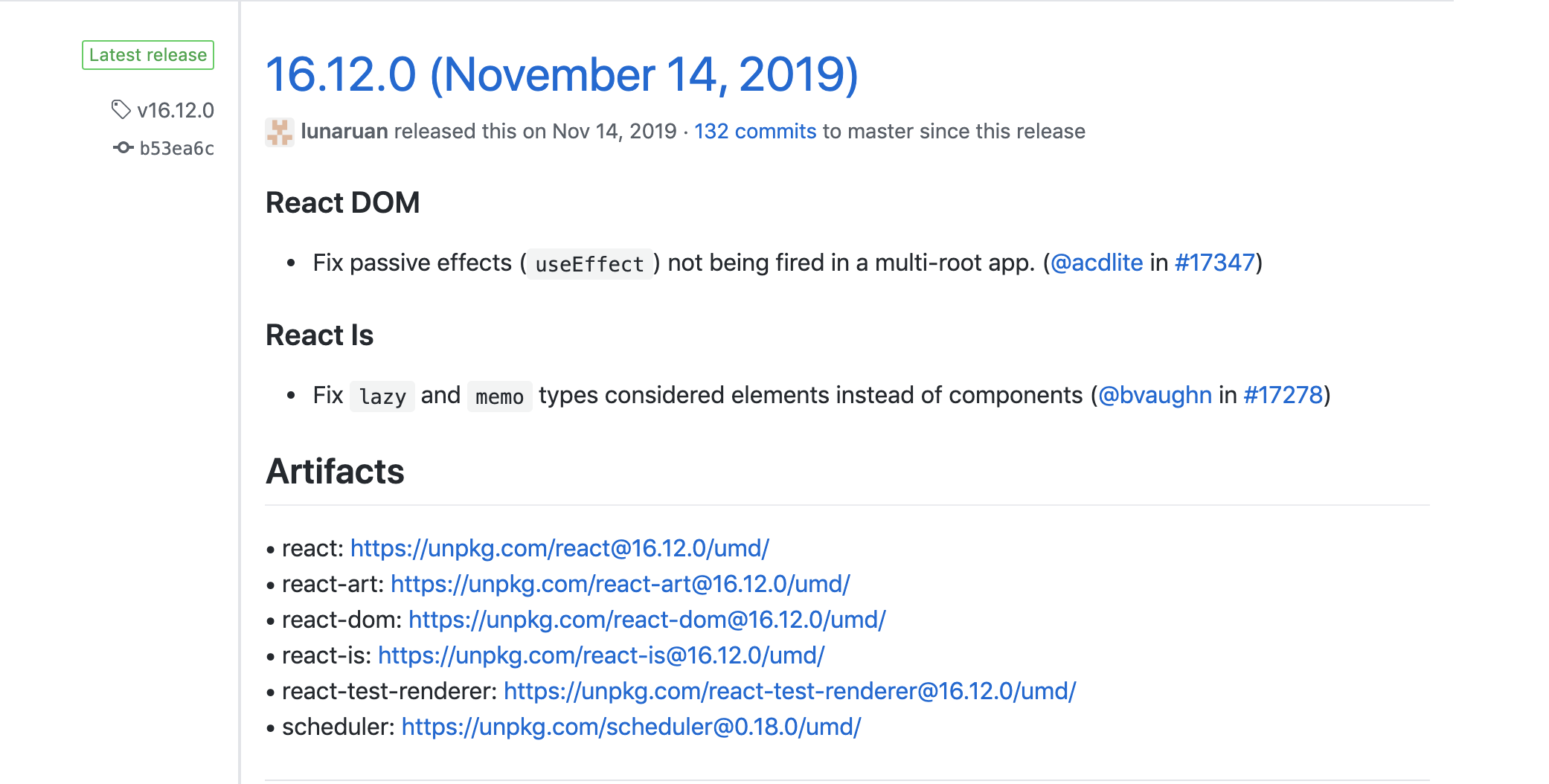 Example of release notes for a minor