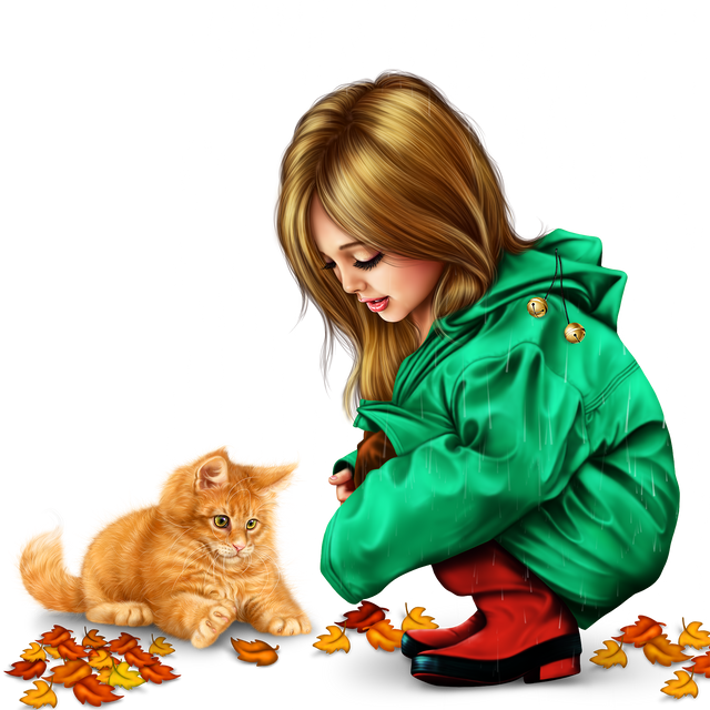 little girl in raincoat with a kitty png 144d861bafaba81a1f.png