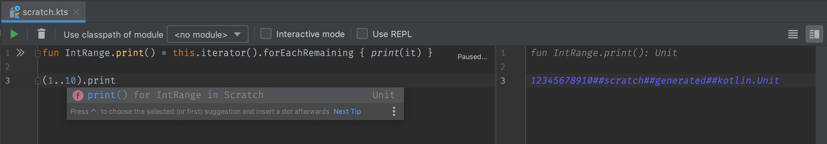 A Kotlin scratch file opened in the IntelliJ IDEA Community Edition