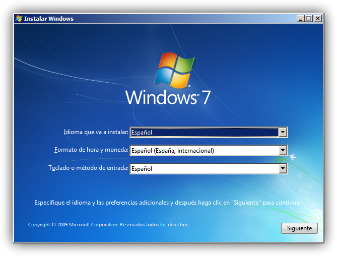 Así se ve el proceso de restaurar Windows 7 con disco de instalación