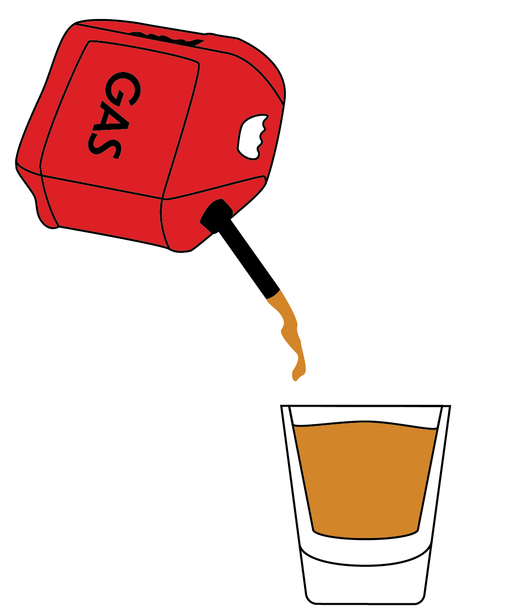 a shot glass with gasoline being poured into it