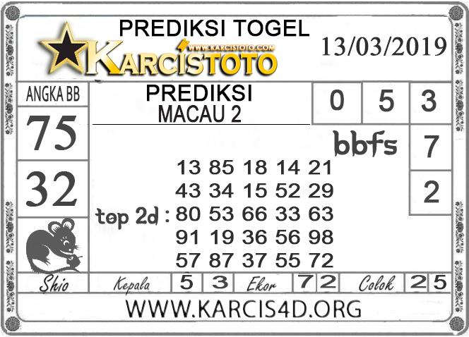 Prediksi Togel MACAU 2 KARCISTOTO 13 MARET 2019
