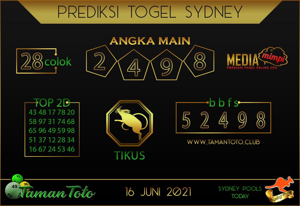 Prediksi Togel SYDNEY TAMAN TOTO 16 JUNI 2021