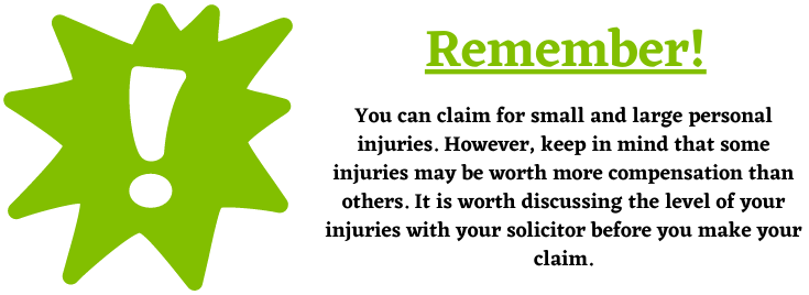 different sizes of personal injuries