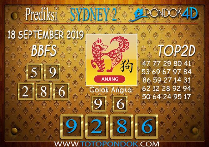 Prediksi Togel SYDNEY 2 PONDOK4D 18 SEPTEMBER 2019