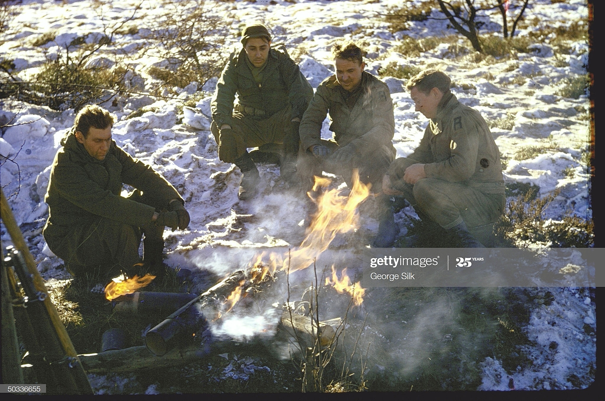 American soldiers in the Ardennes in the winter of 1944-45. War photos in color. Photographer George Silk