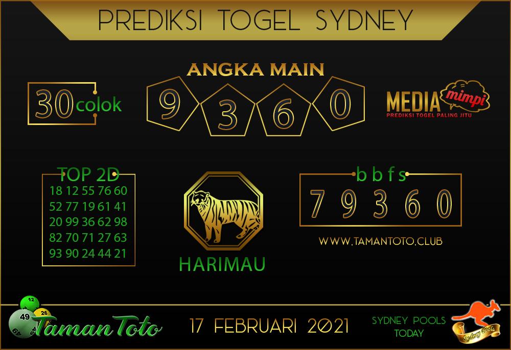 Prediksi Togel SYDNEY TAMAN TOTO 17 FEBRUARI 2021