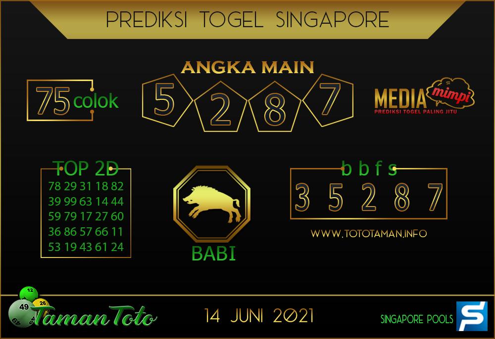 Prediksi Togel SINGAPORE TAMAN TOTO 14 JUNI 2021