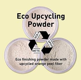 Eco finishing powder made with upcycled orange peel fiber.