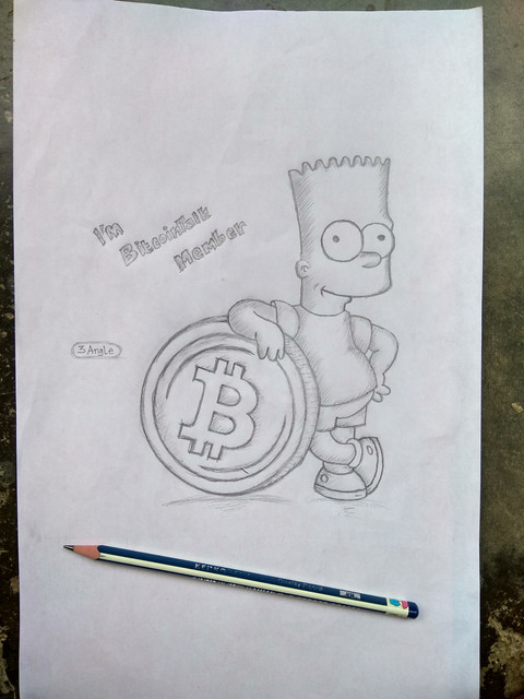 Bart Simpson with Bitcoin draw by 3angle