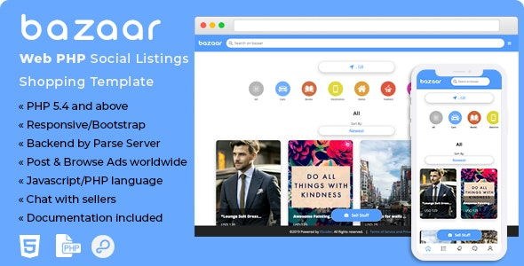 Bazaar v1.0 - Web PHP Social Listings/Classifieds Shopping Template