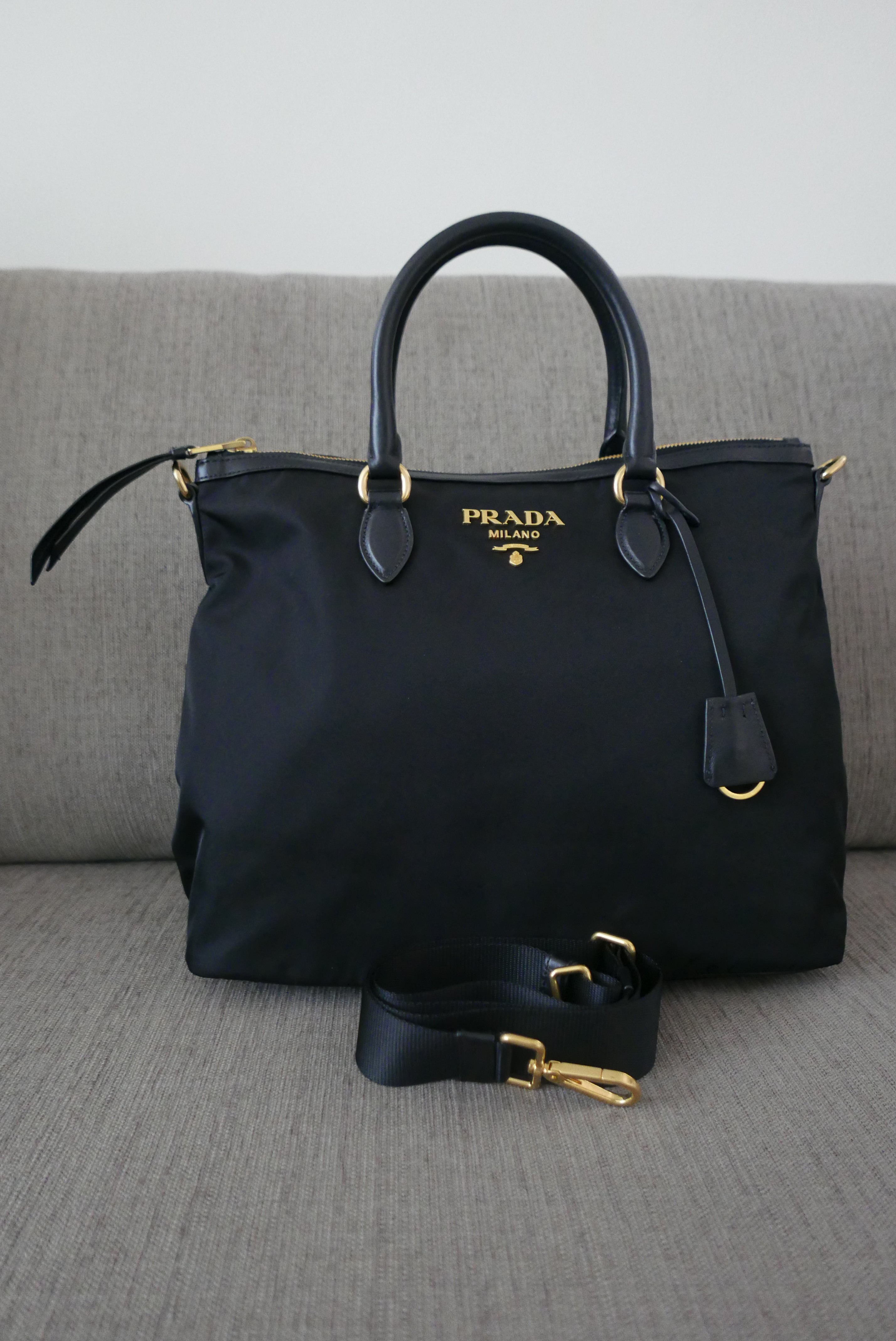 fc223102b9df Details about Sale! New Auth Prada Tessuto Soft Calf Leather Nylon 2Way Bag  1BC060 Nero Black