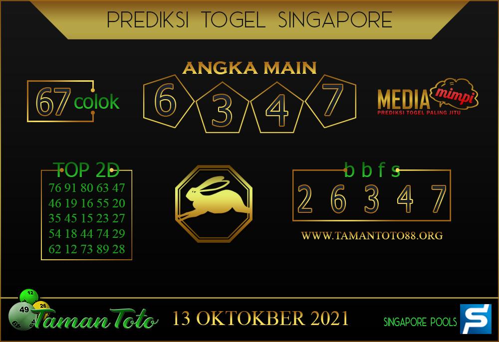 Prediksi Togel SINGAPORE TAMAN TOTO 13 OKTOBER 2021