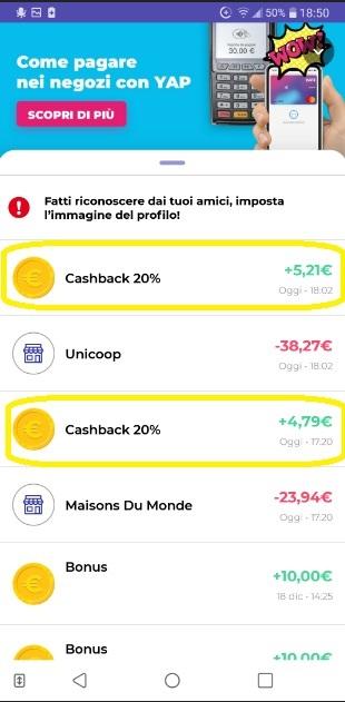 YAP L'App gratuita che ti restituisce denaro! CASHBACK RESTITUZIONE DENARO SU USO CONTO! - Pagina 2 2020-01-04-yap-3
