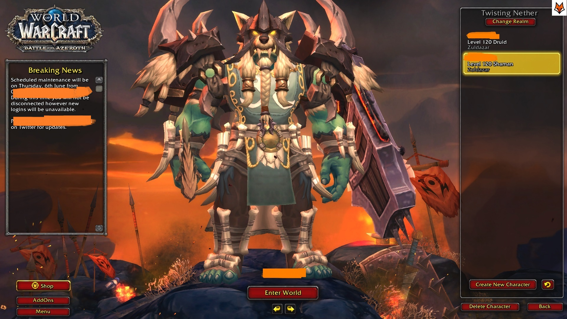 Selling 120 Level Orc Shaman 420 Ilvl Negotiable