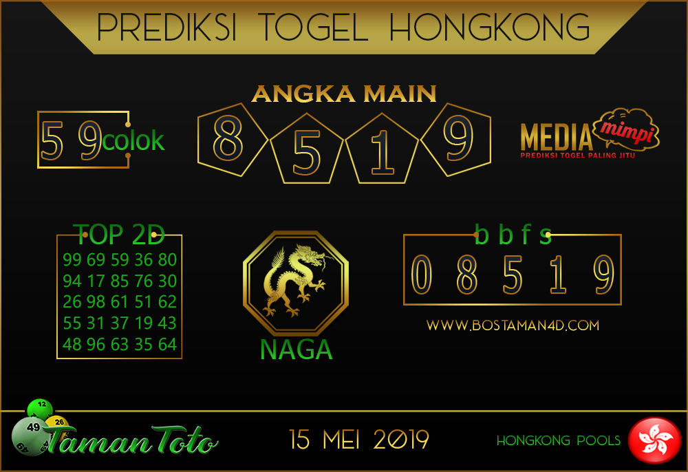 Prediksi Togel HONGKONG TAMAN TOTO 15 MEI 2019