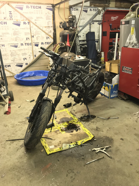 250 motor out and bare frame.