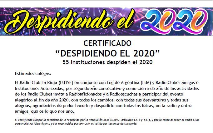 Certificado «Despidiendo el 2020»