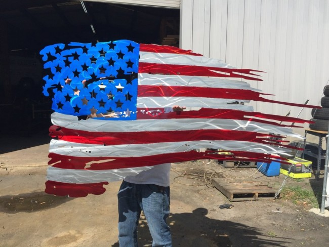 U.S FLAG TATTERED AND TORN METAL ART