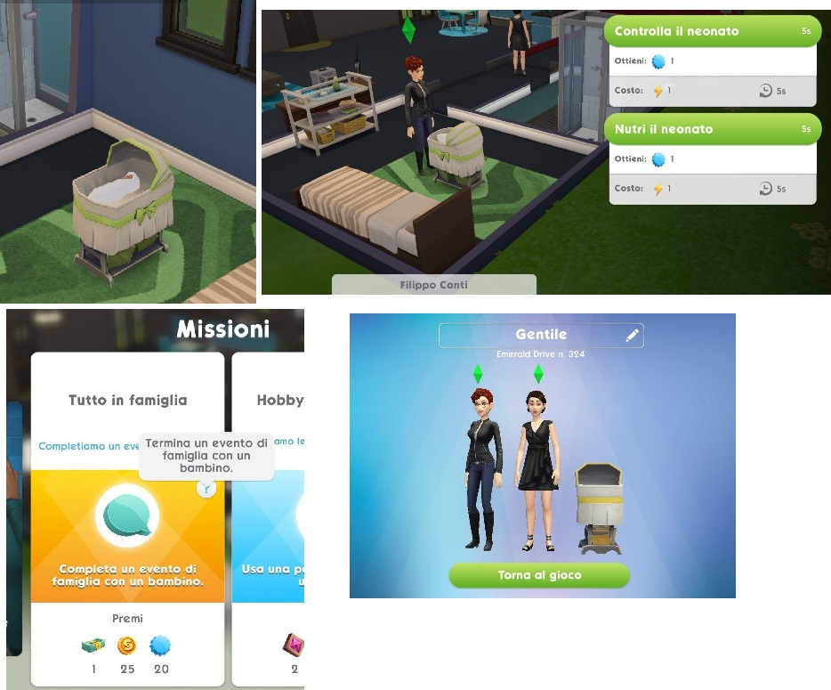 A screenshot of the mission that says to complete a family event about the baby