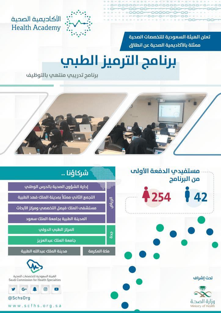 وزارة الصحة القبول والتسجيل في برنامج الترميز الطبي المنتهي بالتوظيف
