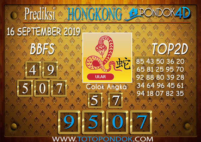 Prediksi Togel HONGKONG PONDOK4D 16 SEPTEMBER 2019