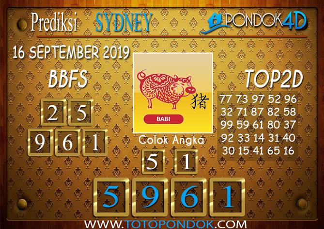 Prediksi Togel SYDNEY PONDOK4D 16 SEPTEMBER 2019