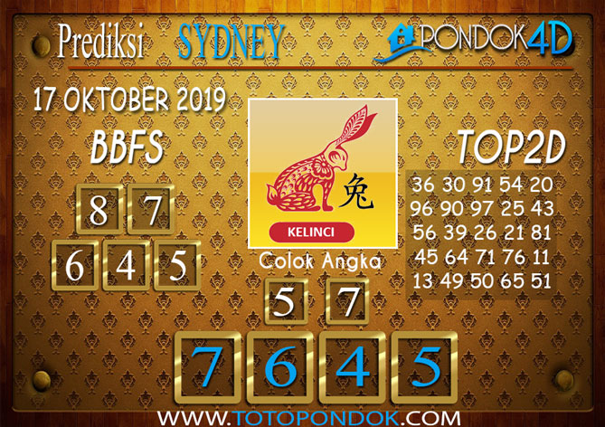 Prediksi Togel SYDNEY PONDOK4D 17 OKTOBER 2019