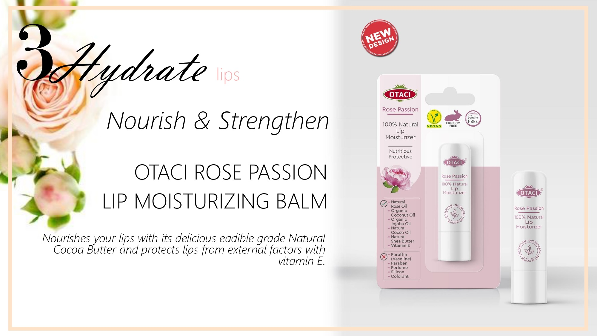 Otaci Rose water moisturizing lip balm