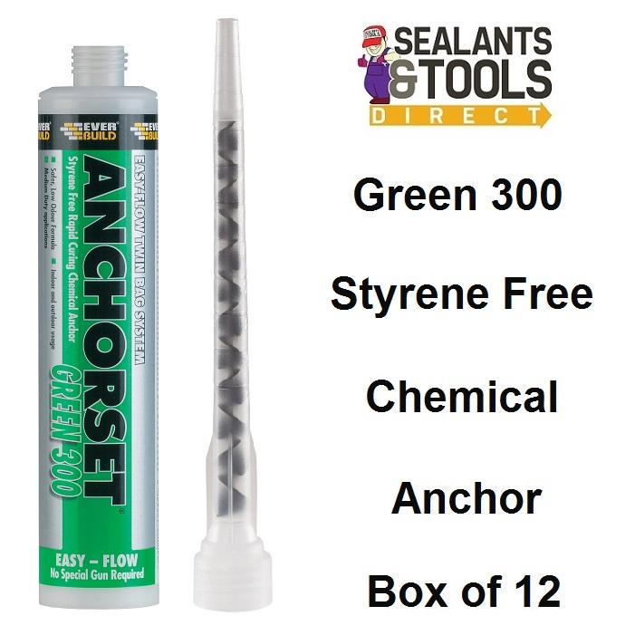 Everbuild Anchorset Green 300 Chemical Anchor Resin - Box of 12
