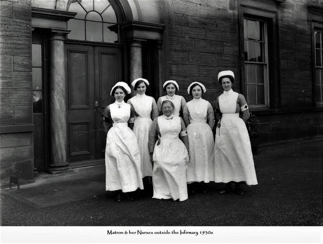 Ellison-Hall-infirmary-matron-and-nurses-1930s