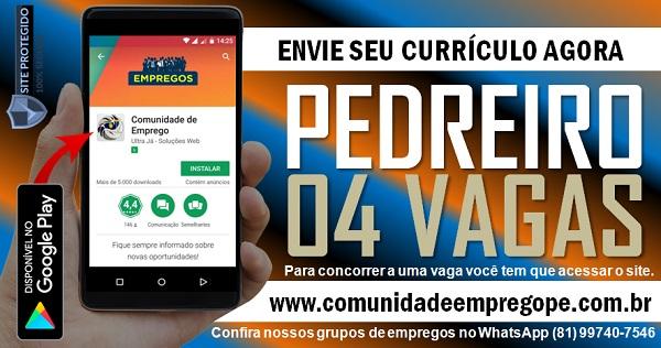 PEDREIRO, 04 VAGAS PARA REFORMA DE AÇOUGUE EM JABOATÃO E RECIFE