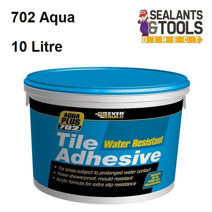 Everbuild 702 Aqua Plus Water Resistant Tile Adhesive 10 Litre RES10