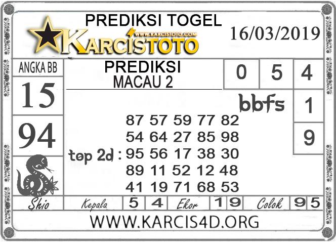 Prediksi Togel MACAU 2 KARCISTOTO 16 MARET 2019