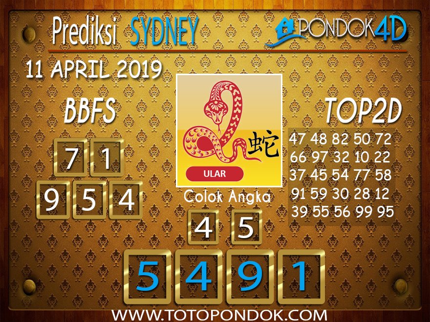 Prediksi Togel SYDNEY PONDOK4D 11 APRIL 2019