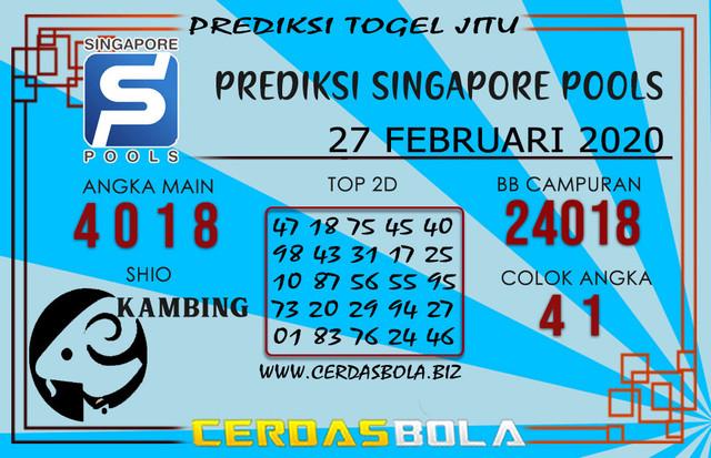 Prediksi Togel SINGAPORE CERDASBOLA 27 FEBRUARI 2020