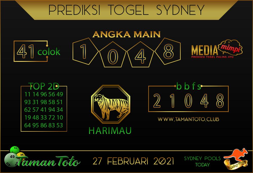 Prediksi Togel SYDNEY TAMAN TOTO 27 FEBRUARI 2021