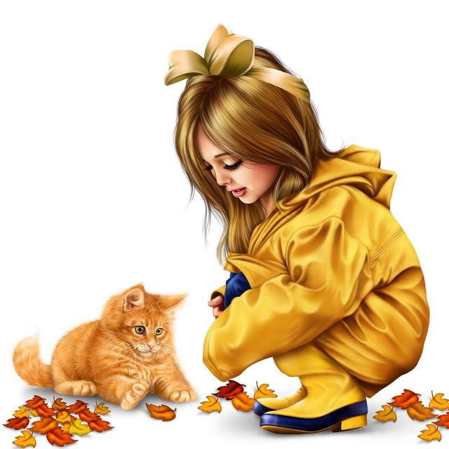 little girl in raincoat with a kitty png 25295f213dcb182aa.png