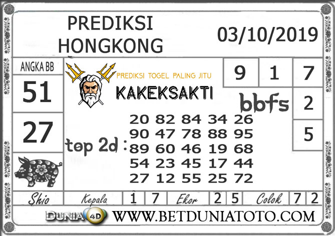 """Prediksi Togel """"HONGKONG"""" DUNIA4D 03 OKTOBER 2019"""