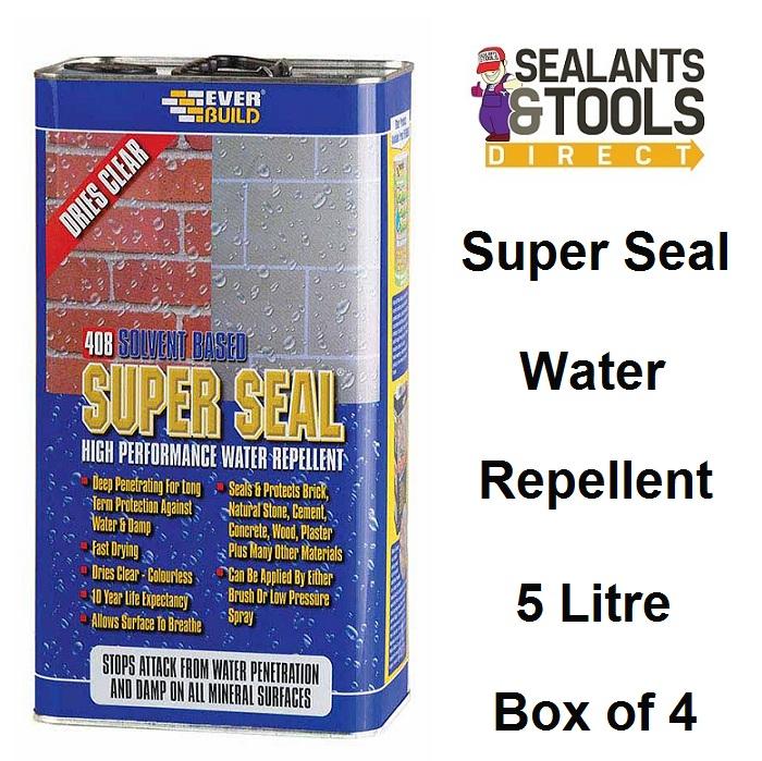 Everbuild 408 Super Seal Water Repellent Sealer 5 Litre Box of 4