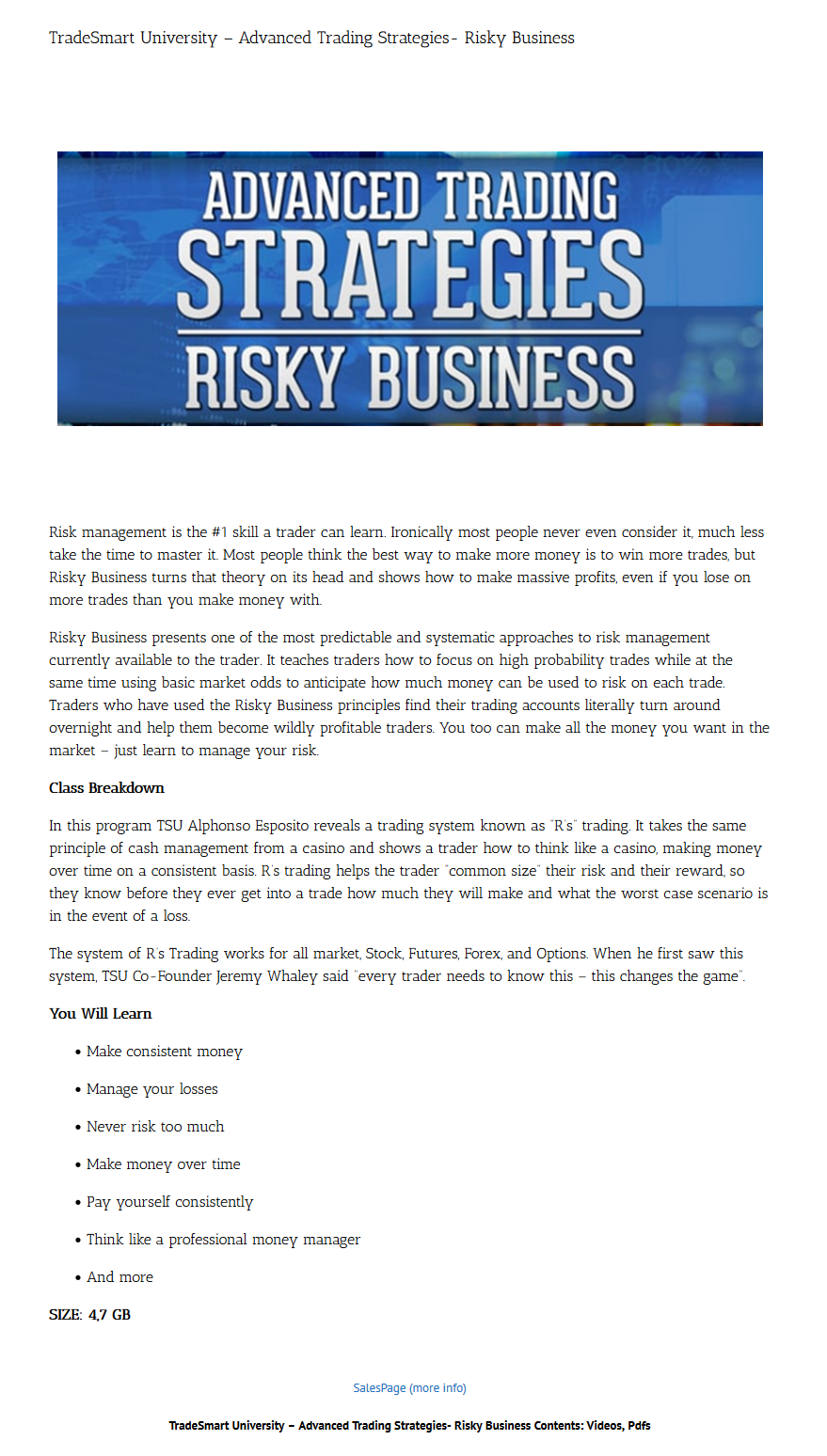 TradeSmart University - Advanced Trading Strategies- Risky Business