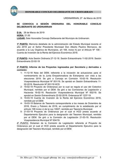 Convocatoria sesión ordinaria Consejo Deliberante: 28 de Marzo de 2019 21:00 hs.