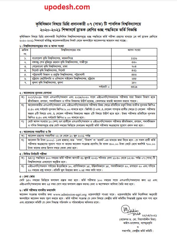 7 Agriculture University Admission Circular 2020-21